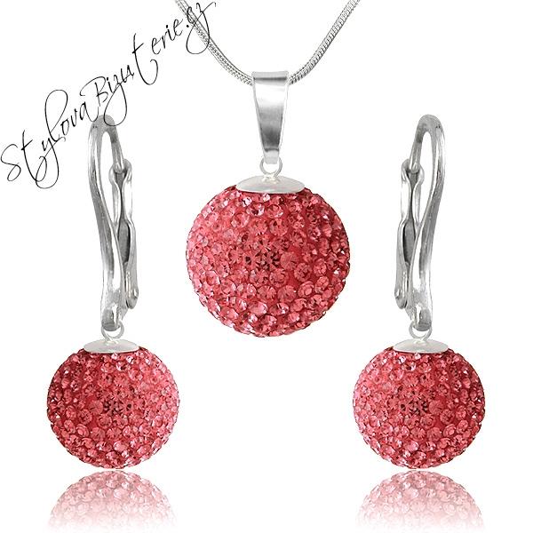 Swarovski Souprava Ball Rose Stříbrná souprava s krystaly Swarovski v dárkové krabičce 718